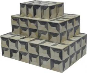 Conjunto de Caixas Imitando Osso Bege