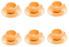 Jogo Xícaras Para Café Cerâmica 6 Peças Com Pires Alanya Flame 125ml 17496 Wolff
