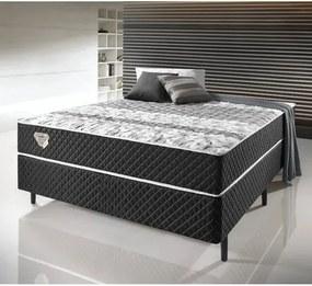 Conjunto Cama Box Casal Soft Comfort Preto - Sistema Antiácaro, Antifungo e Antialérgico - 138x188cm