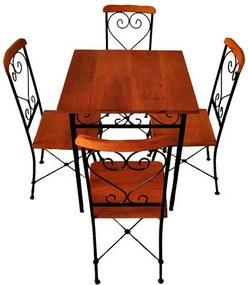 Mesa de Jantar Quadrada + 4 Cadeiras Coloniais Madeira de Jequitibá