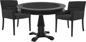 Mesa de Jogos Carteado Redonda Victoria Tampo Reversível Preto com 2 Cadeiras Vicenza Preto Fosco - Gran Belo