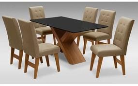 Conjunto Mesa de Jantar com 06 cadeiras Agata 180cm Cedro/Preto/Mascavo - ADJ DECOR