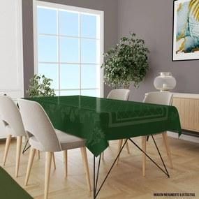Toalha de Mesa Retangular Para 8 Lugares Elementos Natalinos Modernos 1.45m x 2.70m Único