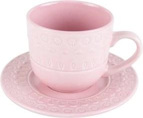 Jogo Xícara Chá Com Pires Porcelana 4 Peças Grace Rose 250ml 17572 Wolff