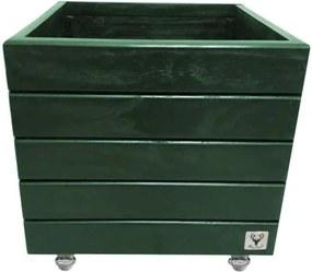 Vaso Madeira Rodinha Cachepot ALCE COUCH Verde 40X40X40