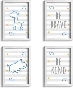 Quadros Girafa e Hipopótamo Azul Kit 4un Moldura Branca