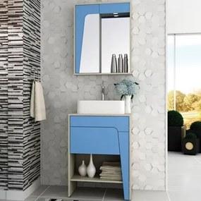 Kit Banheiro Gabinete 60cm Cuba e Armário com Espelho Elisa Taeda/Azul - Bosi