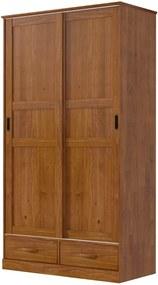 Roupeiro Onix com 2 Portas Deslizantes  - 2 Gavetas - Madeira Maciça - Cor Imbuia