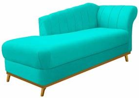 Recamier Vanessa 140cm Lado Esquerdo Corano Azul Turquesa - ADJ Decor