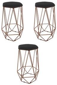 Kit 3 Banquetas Aramado Eiffel Hexágono Bronze Assento Suede Preto