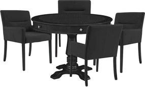 Mesa de Jogos Carteado Redonda Victoria Tampo Reversível Preto com Kit 4 Cadeiras Vicenza Preto Fosco - Gran Belo
