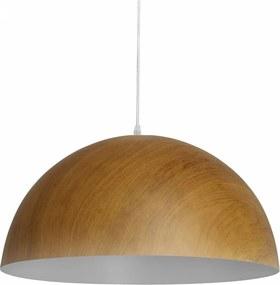 Pendente Foliate em Alumínio Madeira e Branco Fosco 40cm - Bella Iluminação - AD005