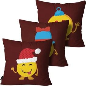 Kit com 3 Almofadas Mdecore de Natal Decorativas Vermelho 55x55