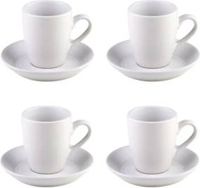 Jogo Xícaras Para Café 4 Peças Com Pires Cerâmica Branco 90ml 27849 Bon Gourmet