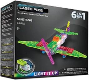 Blocos de Montar Laser Pegs Avião Mustang 6 em 1 Zippy Verde