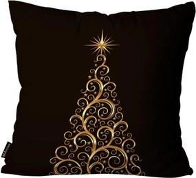 Almofada Premium Cetim Mdecore Natal Arvore de Natal Preta 45x45cm