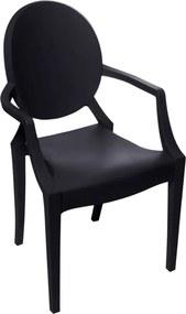 Cadeira Louis Ghost Kids Beta Com Braço Preto