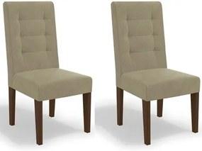 Kit 2 Cadeiras CAD111 para Sala de Jantar Walnut/Bege - Kappesberg