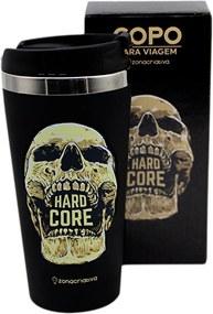 Copo Térmico Emborrachado Hard Core Caveira - 450 ml