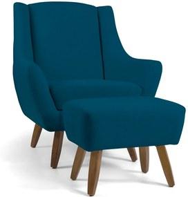 Poltrona Decorativa com Puff Sala de Estar Pés de Madeira Naomi Veludo Azul Cobalto - Gran Belo
