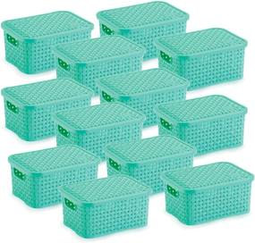 12 Caixas Organizadoras Rattan Pequena Verde 15,3 x 20,5 x 9,5 cm