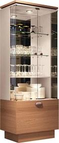 Cristaleira Decorativa com Nicho Adega Embutido Peggy Nature / Off White - Gran Belo