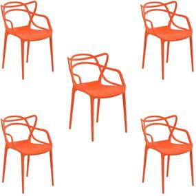 Kit 5 Cadeiras Decorativas Sala e Cozinha Feliti (PP) Laranja- Gran Belo