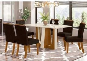 Mesa de Jantar Alfa Tampo de Vidro 160cm com 6 Cadeiras Vega Nature Off White Marrom