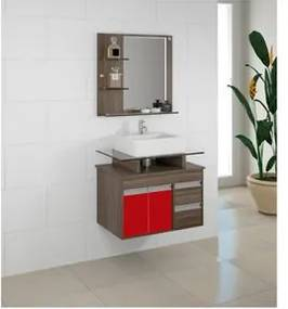Armário Banheiro Jae Style Vicenza Vermelho Suspenso 3 peças 65cm