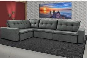 Sofa de Canto Retrátil e Reclinável com Molas Cama inBox Oklahoma 3,45X2,41 ou 2,41X3,45 Cinza