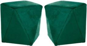 Kit 02 Puffs Decorativo Sala de Estar Blois Veludo Verde - Gran Belo