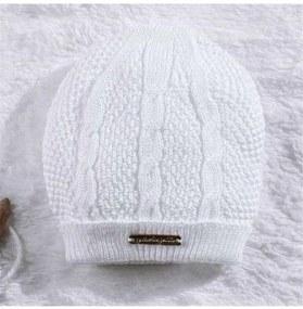 Touca Bebê Branco Tricot P 3 a 6 Meses Grão de Gen