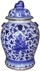 Pote em Porcelana Thai com Tampa Floral Azul e Branco M D25cm x A41cm