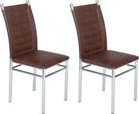 Conjunto 2 Cadeiras Tokio Cromadas Marrom
