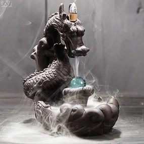 Incensário Dragão com Esfera Cascata de Fumaça
