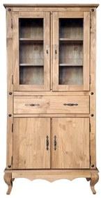 Estante Clássica 2 Portas Maciças + 1 Gaveta + 2 Portas de Vidro Regato - Wood Prime Biomóvel 962279