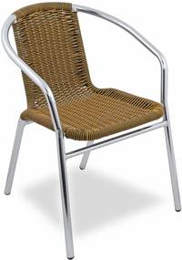 Cadeira de Alumínio Ibizza - Acento em Fibra Sintética - Cor Preta com Amarelo