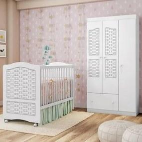 Quarto de Bebê Guarda Roupa e Berço Fantasy Branco/Ripado - Móveis Estrela
