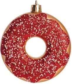 Donut Decoração Natal P/Pendurar Árvore 3Pçs 7Cm Vermelho