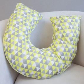 Almofada Amamentação Dupla Face Triângulos Amarelo e Cinza
