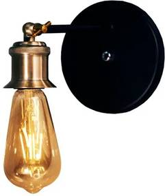 Arandela Soquete Industrial com Haste Soq: E27 | Cor: Preto com Cobre | Tam: 20cm | Mod: Arandela Soquete