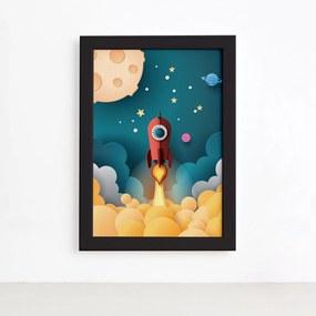Quadro Astronauta Foguete Vermelho Moldura Preta 33x43cm