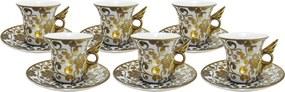 Jogo de Café 12 Peças Dourado com Margaridas - 6x8x6cm
