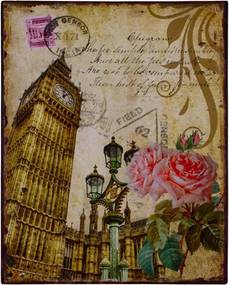 Placa La Big Ben e Rosas Sépia em Metal - 25x20 cm