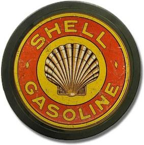 Luminoso sem Fio Shell Gasoline Vermelho em Alumínio com LED - 30x4 cm