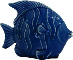 castiçal peixe INDICO resina azul 15cm Ilunato XD0354