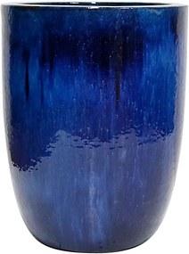 Vaso Vietnamita Cerâmica Importado U Planter Médio Azul D44cm x A55cm