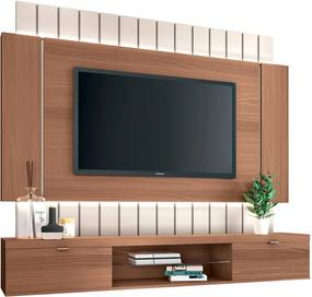 "Painel Home Suspenso para TV até 55"" Sala de Estar Shawn Off White/Nature - Gran Belo"