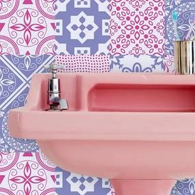Adesivo Azulejo Floral Rosa E Roxo 28908551