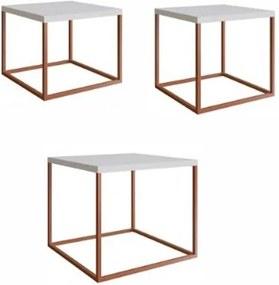 Conjunto Mesas Cube Branca Estrutura Cobre 38cm - 59309 Sun House